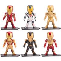 altı versiyon toptan satış-Demir Adam Sevimli Sürüm Heykelcik Avengers Altı Setleri Zarif Model Oyuncak Taban Eklenmiş Olabilir Araç Süsleme 35cs O1