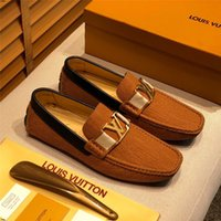 Wholesale italian leather dress shoes for men resale online - 19FF Italian Mens Casual Shoes Luxury Brands Loafers Suede Leather Designers Boat Shoes Men High Quality Moccasins For Men Skor
