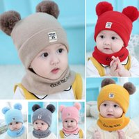 Wholesale boys baby christmas crochet hats for sale - Group buy Kids Knit Crochet Beanies Hat Bid Sets Girls Boys Soft Double Balls Winter Warm Hat Outdoor Baby Pompom Ski Caps Party Hat mont HH9