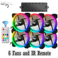 sessiz soğutma fanı toptan satış-AIGO DR12 RGB 6 adet Bilgisayar Kasası PC Soğutma Fanı RGB Ayarlamak LED 120mm Sessiz + IR Uzaktan Yeni bilgisayar Soğutucu Soğutma Fanı Fan