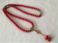 achat buddhistische perlen großhandel-Tibet Tibet tibetanischen roten Bodhi buddhistischen Buddha Sorge Gebetskette Mala Armband oder Halsketten
