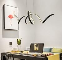 Noir / Blanc moderne LED lampes suspendues Salon Salle à manger Cuisine  Aluminium Hanglamp Lampe suspension industriel Lampes lumière Éclairage MYY