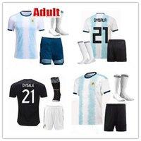 argentinien fußball socken großhandel-Copa America 2019 20 Fußballtrikot-Trikot für Erwachsene Argentinien + Socken 19 20 MESSI DYBALA MARADONA AGUERO DI MARIA HIGUAIN Fußballtrikot