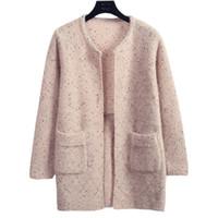 giyim eşyaları toptan satış-Kazak Kadın Yün Örgü Hırka Ceket Yeni Sonbahar Kış Fikstür Renk Kore Kadın Gevşek Jumper Giyim Vestidos LXJ319