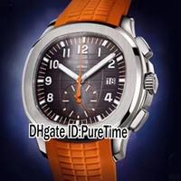 relógios de luxo laranja venda por atacado-New Aquanaut 5968A-001 Caso de Aço Marrom Textura Dial Autoamtic Mens Watch de Alta Qualidade Relógios Desportivos de Borracha Laranja 9 Estilos Puretime B291a1