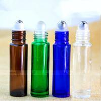 стеклянный рулон оптовых-10 мл стекло ролл на бутылки эфирное масло ролик мяч бутылки с металлической щеткой крышка 4 цвета RRA75