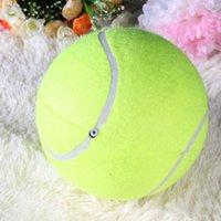gatos gigantes do brinquedo venda por atacado-Atacado-24 cm Pet Bolas De Tênis Gigante Do Cão Pet Toy Tênis Jogo Bolas De Cachorro Gigante Inflável Para Mastigar Brinquedo Não-tóxico Sólidos Brinquedos Do Gato
