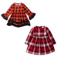 kare baskı toptan satış-Kızlar Sonbahar Kare Elbiseler 2 Renk Uzun Kollu Kızlar Kırmızı Ekose Baskılı Elbise Çocuklar Giysi Tasarımcısı Kızlar Parti Peform Kostüm 6 M-5 T 04