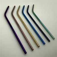 Wholesale New Metal Drinking Straw Eco Friendly Stainless Steel Reusable Straws Straight and Bent For Beer Fruit Juice Drink