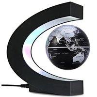 yüzen manyetik havaya uçma toptan satış-C Şekil Manyetik Kaldırma Yüzen Küre Dünya Haritası Ev Ofis için LED Işık Dekorasyonlu - Siyah