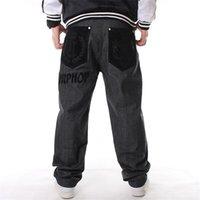 baggy jeans muster großhandel-Hip Hop Baggy Jeans Beflockung CrownLetter Muster 2019 Neue Ankunft Herren Breites Bein Loose Fit Skateboard Jeans Frei