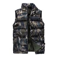 colete inverno quente mens venda por atacado-Homens Inverno Vest Parkas Coats camuflar colorido Quente Zipper Casacos Moda Masculina Inverno mangas Parkas