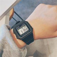 мужчины оптовых-Спортивные мужские часы LED Цифровой Прямоугольный циферблат 9 цветов Девушки наручные часы оптом 2019 Спортивные военные часы моды резиновый ремешок часы