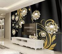 pintar papel de parede venda por atacado-Personalizado 3D Foto Papel De Parede Mural Pintados À Mão 3D high-end preto de seda patter de jóias de Parede Mural Sala de estar Home Decor Pintura Papel De Parede