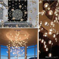 météore douche pendentif éclairage achat en gros de-Éclairage LED AC 85-240V cristal boule en verre droplight Lustre Pendentif Meteor pluie Plafonnier météorique Douche d'escalier Bar