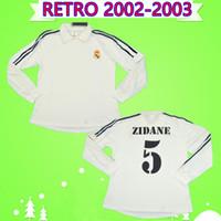 ingrosso ronaldo bianca lunga maglia-maglie da calcio retrò manica lunga Morientes Zidane Figo Raul ronaldo Hierro 2002 2003 real madrid 02 03 Maglia vintage bianca da calcio Maillot