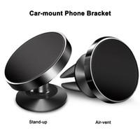 car phone holder toptan satış-Manyetik Araç Montaj Cep Telefonu Tutucu 360 derece Rotasyon Stand-up / Hava firar