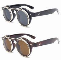 lunettes de soleil goth achat en gros de-Hot New Steampunk Goth lunettes de soleil Lunettes rondes en métal Rétro cercle Flip Up Uv400 lunettes 4 couleurs 200 pcs en gros
