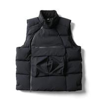 colete de jaqueta de esporte venda por atacado-Atacado Mens Down Vest Sports Marca Designer Turtle Inverno Neck Velvet Quente revestimento do revestimento Sideway Zip Camisola Sem Manga B101160L