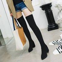 botas super largas al por mayor-Winter plus velvet boots boots 2020 nuevas botas elásticas estiramiento súper largo del muslo