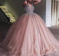 vestidos de color rosa champaña al por mayor-2019 Champagne Pink Quinceanera Dress Princess Tulle Arabic Dubai Sweet Long Girls Prom Party Pageant vestido más tamaño por encargo