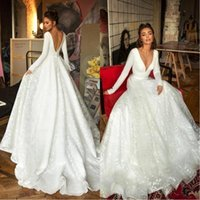 Wholesale long lace informal wedding dress for sale - Group buy 2020 New Robe de mariee Long Sleeve Wedding Dresses Luxury Lace Stain V neck Princess Church Garden Bride Informal Wedding Gown BC2474