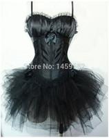 tutu de renda preta mais tamanho venda por atacado-Burlesque Black Lace Overbust Espartilho + Saia Tutu Preto Com Copos de Sutiã Plus Size S-6XL