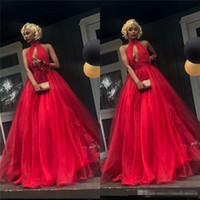 Wholesale girls formal jackets resale online - Cheap Red Prom Dresses A Line Halter Plus Size Organza Skirt Black Girls K19 Couple Fashion Backless Formal Evening Party Gowns