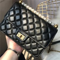 Wholesale string beads white resale online - Elegant2019 Diamond Real Lattice Small Square Package Single Shoulder Span A String Of Beads Genuine Leather Ma am Bag