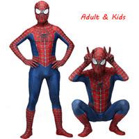 traje de cosplay vermelho venda por atacado-Costume Spiderman alta qualidade Spider Man Fancy Dress Adulto e do traje de Halloween das crianças Red Preto Spandex 3D Cosplay ClothingMX190921