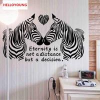 ingrosso adesivi zebra per pareti-Adesivo murale fai da te Cartoon Love Zebra Wallpapers All-match Style Art Mural Impermeabile Adesivi murali camera da letto Decorazioni per la casa