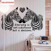 yatak odası duvar kağıdı toptan satış-DIY Duvar Sticker Karikatür Aşk Zebra Duvar Kağıtları Tüm Maç Tarzı Sanat Mural Su Geçirmez Yatak Odası Duvar Çıkartmaları Ev Dekor