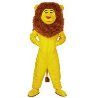 traje de la mascota del león amarillo al por mayor-Nuevo león amarillo traje de la mascota de disfraces personalizados traje de la mascota de dibujos animados traje de carnaval