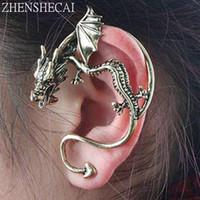 joyería del dragón de las mujeres al por mayor-Al por mayor de la nueva manera de la exageración punky del unicornio del oído del dragón Puño pendiente de clip para las mujeres joyería de la vendimia hecha a mano e0387