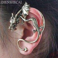 punk dragon ear cuff toptan satış-Toptan Yeni Moda Abartı Punk Unicorn Ejderha Kulak Manşet Klip Küpe Kadınlar Için Vintage Takı el yapımı e0387