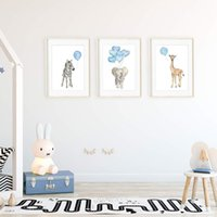 Wholesale baby nursery painting for sale - Group buy 3PCS Animal Nursery Prints Giraffe Elephant Zebra Balloons Baby Room Decoration Canvas Art Painting Unframed