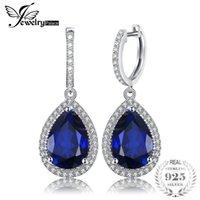 ingrosso ciondola gli orecchini di pera-Jewelrypalace Luxury Pear Cut 12.4ct blu creato zaffiro orecchini pendenti in argento massiccio 925 gioielli fini per le donne Y19052401