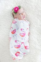ingrosso coperte del bambino del fumetto del cotone-Kids Acquerello Flamingo Coperta Stampa Baby Bag Silkworm Cocoon Bianco Cartoon Cotton Quilt Baby Wear Sezione sottile 24