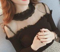 crochet collars grátis venda por atacado-2019 estilo de moda livre primavera das mulheres sexy rendas de crochê gola alta quente camisa de assentamento das mulheres tamanho grande Magro camisa de malha de mangas compridas