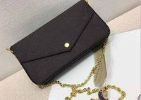 Wholesale leather fur purse online - AAA Qualit New Genuine Leather Fashion Chain Shoulder Bags Handbag Presbyopic Mini Wallets Mobile Card Holder Purse M61276 Triple Handbags
