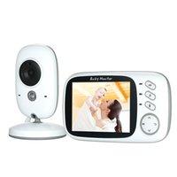 uk monitörler toptan satış-3.2 inç Renkli LCD 2.4 GHz Kablosuz Dijital Video Bebek Monitörü Gece Görüş Sıcaklık Izleme Sesli Aktivasyon İNGILTERE / ABD Plug