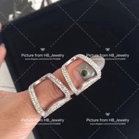 Wholesale open heart silver ring resale online - Popular fashion brand Full diamond open designer rings for lady Design Women Party Wedding Lovers gift Luxury Jewelry for Bride with box