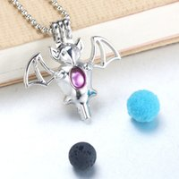 Wholesale bat locket resale online - 6pcs Bright Silver Flying bat Pearl Cage Pendant Oyster Pearl Aroma Diffuser necklace Pendant Locket Jewelry Gifts