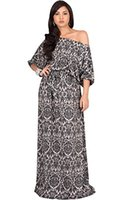 maxi vestido de manga de verano al por mayor-KOH KOH Womens Long One Shoulder 3/4 manga corta Sexy Summer Boho vestido largo