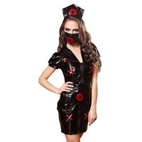 Sexyy Traje de Enfermera Conjunto Gothic Negro de Cuero de Imitación Vestido  Erótico Enfermera Cosplay Uniforme Mujeres Juego de Roles Sexy Ropa Exótica 1ee05be5e816