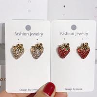 Wholesale strawberry jewelry for sale - Group buy S1079 Hot Fashion Jewelry S925 Silver Needle Vintage Strawberry Earring Diamond Rhinstone Stud Earrings
