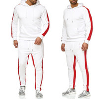Wholesale men s white outfit resale online - Brand Mens Gyms Casual Tracksuit Two Piece Sets Fitness Men Sweat Suit Pieces Tops And Pants Set For Male Outfits