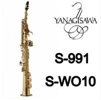 son de saxophone achat en gros de-Nouveau YANAGISAWA S-WO10 B (B) Ton Haute Qualité Saxophone Soprano Laiton Doré Laque Sax Avec Embouchure Et Accessoires