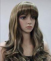 longo luz marrom perucas venda por atacado-WIG 1027 +++ Light Brown Loira Mista Longo Ondulado Mulheres Ladies Daily peruca Bangs