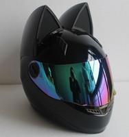 siyah moto kask toptan satış-NITRINOS Motosiklet Kask Kadın Moto Kask Moto Kulak Kask Kişilik Tam Yüz Motor 4 Renkler Pembe Sarı Siyah Beyaz